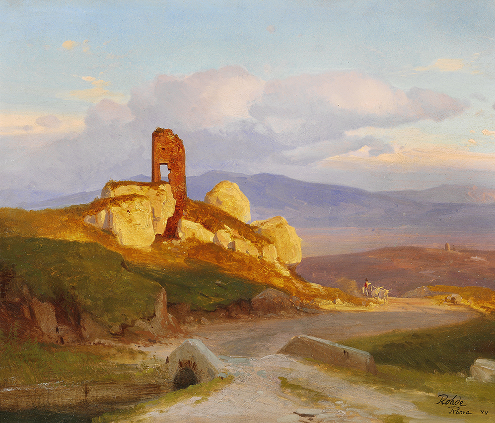 Golden Age Frederik Rohde Ruins in the Roman Campagna – James Bauerle – Danish fine art